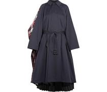 Wandelbarer Mantel Aus Baumwoll-twill, Kariertem Filz Aus Einer Wollmischung Und Plissiertem Crêpe -