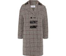 Mantel Aus Einer Karierten Wollmischung Mit Lacklederbesatz -