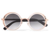 Verzierte Sonnenbrille Aus Azetat Mit Rundem Rahmen Und Roséfarbenen Details