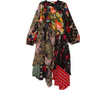 Bedrucktes Kleid Aus Crêpe De Chine, Seide Und Stretch-jersey -