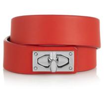 Shark Lock Armband Aus Leder Und Palladiumfarbenem Messing - Rot