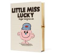 Little Miss Lucky Clutch Aus Baumwoll-faille Mit Applikation - Creme