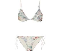 Jasper Bedruckter Triangel-bikini Mit Rüschenbesätzen Aus Tüll -