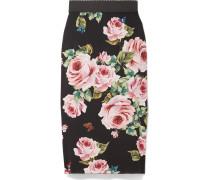 Floral Bedruckter Midirock Aus Seiden-charmeuse Mit Stretch-anteil -
