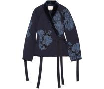 Jacke Aus Baumwolle Mit Samtbesatz Und Floralen Applikationen - Mitternachtsblau