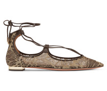 Christy Flache Schuhe Aus Besticktem Mesh Mit Lederbesatz - Gold