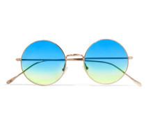 Porto Cervo Goldfarbene Verspiegelte Oversized-sonnenbrille Mit Rundem Rahmen -