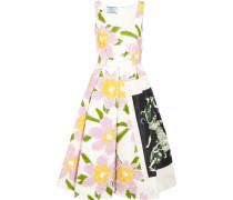 Kleid Aus Seiden-faille Mit Applikationen - Weiß