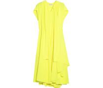 Neonfarbenes Kleid Aus Crêpe De Chine Aus Seide Mit Falten - Knallgelb
