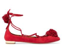 Sunshine Ballerinas Aus Veloursleder Mit Pomponverzierung - Rot