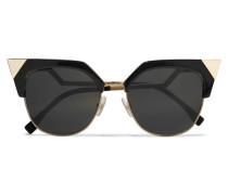 Iridia Sonnenbrille Mit Cat-eye-rahmen Aus Goldfarbenem Metall Und Azetat - Schwarz