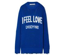 Oversized-pullover aus Gehäkelter Baumwolle in Distressed-optik mit Intarsienmotiv -