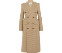 Doppelreihiger Mantel Aus Einer Karierten Wollmischung -