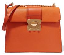 Madras Große Schultertasche Aus Strukturiertem Leder - Orange