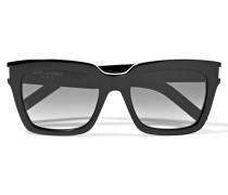 Sonnenbrille Mit Eckigem Rahmen Aus Azetat - Schwarz