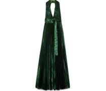 Plissierte Robe aus Lamé aus einer Seidenmischung mit Rückenausschnitt -