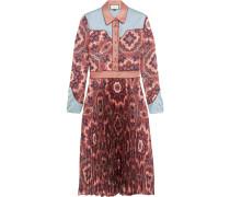 Kleid Aus Plissiertem Seidensatin Mit Paisleyprint - Pink