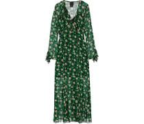 Wickelkleid Aus Seiden-georgette Mit Rüschenbesatz Und Blumenprint - Grün