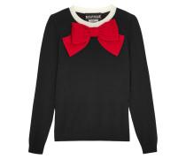 Pullover Aus Wolle Mit Schleifenverzierung - Schwarz