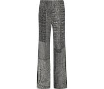 Hose Aus Woll-jacquard In Patchwork-optik Mit Weitem Bein - Grau