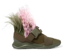Sneakers Aus Neopren Mit Federverzierung - Armeegrün