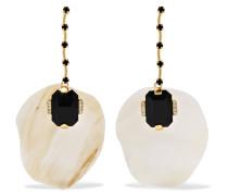 Vergoldete Ohrringe Mit Horn Und Kristallen -