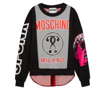 Sweatshirt Aus Bedrucktem Baumwoll-jersey Und Einer Karierten Wollmischung - Grau