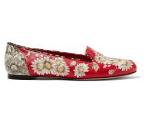 Bestickte Loafers Aus Leder - Rot