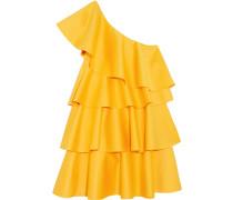 Minikleid Aus Crêpe Mit Asymmetrischer Schulterpartie Und Volants -