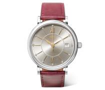 Portofino Automatic 37 Mm Uhr aus Leder und Edelstahl mit Diamanten und Passendem Reißverschlussbeutel -