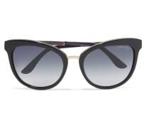 Sonnenbrille Mit Cat-eye-rahmen Aus Azetat Mit Goldfarbenen Details -