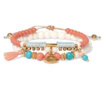 Set Aus Zwei Goldfarbenen Armbändern Mit Türkisen Und Knochen -