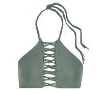 West Oz Neckholder-bikini-oberteil In Häkeloptik - Armeegrün