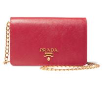 Wallet On A Chain Schultertasche Aus Strukturiertem Leder - Rot