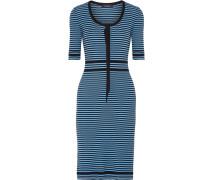 Gestreiftes Kleid Aus Gerippter Baumwolle - Azurblau