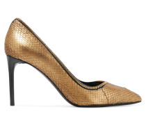 Pumps Aus Pythonleder In Metallic-optik Mit Reißverschlussdetail -