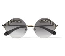 Serpenti Sonnenbrille mit Rundem Rahmen aus Bedrucktem Metall -