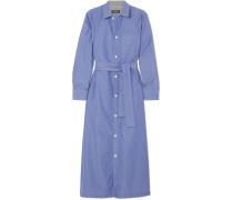 Millie Gestreiftes Hemdblusenkleid aus Baumwollpopeline in Midilänge -