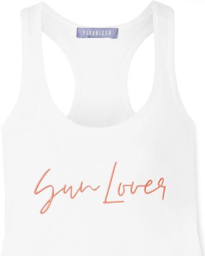 Sun Lover Besticktes Tanktop aus Geripptem Jersey aus einer Baumwollmischung