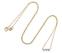 Three Points Kette aus 14 Karat Gold mit Opalen und Einem Diamanten -