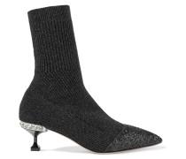 Sock Boots Aus Metallic-rippstrick Mit Glitterpartie -