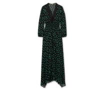 Asymmetrisches Kleid aus Bedrucktem Chiffon mit Spitzenbesätzen -