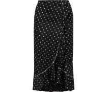 Dufort Satinrock aus einer Seidenmischung mit Polka-dots und Rüschen -