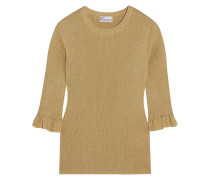 Rippstrickpullover In Metallic-optik - Gold
