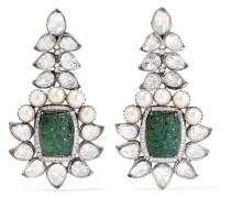 Ohrringe aus 18 Karat Gold und Sterling mit Mehreren Steinen