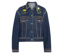 Verzierte Jeansjacke In Oversized-passform - Dunkler Denim