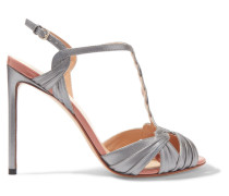 Sandalen Aus Metallic-leder -