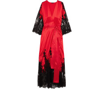 Madame Shehu Kimono Aus Seidensatin Mit Spitzenbesatz -
