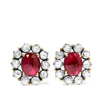 Ohrringe aus 18 Karat Gold und Sterlingsilber mit Rubinen und Diamanten -
