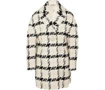 Mantel Aus Tweed Mit Hahnentrittmuster - Elfenbein